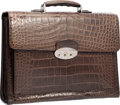 "Luxury Accessories:Bags, Brioni Matte Brown Alligator Triple Gusset Briefcase Bag. VeryGood to Excellent Condition. 16.5"" Width x 12.5""Height..."