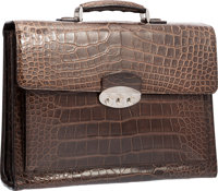 """Brioni Matte Brown Alligator Triple Gusset Briefcase Bag Very Good to Excellent Condition 16.5"""" W"""