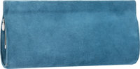 Hermes Blue Thalassa Veau Doblis Suede Cadre Clutch Bag with Palladium Hardware H Square, 2004 Ve