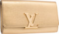 "Luxury Accessories:Bags, Louis Vuitton Metallic Gold Leather Louise Clutch Bag. Excellentto Pristine Condition. 10"" Width x 5.5"" Height x 2"" D..."