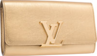 "Louis Vuitton Metallic Gold Leather Louise Clutch Bag Excellent to Pristine Condition 10"" Width x"