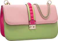 "Valentino Pink & Green Leather Rockstud Lock Flap Bag Excellent Condition 12"" Width x 7.5"" Height x 4""..."