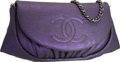 Luxury Accessories:Bags, Chanel Purple Lizard Embossed Velvet Leather Half Moon Wallet onChain Bag with Silver Hardware. Excellent to Pristine Con...