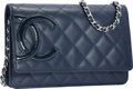 Luxury Accessories:Bags, Chanel Navy Blue Quilted Lambskin Leather Ligne Cambon Wallet onChain Bag with Silver Hardware. Excellent to Pristine Con...