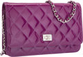 "Luxury Accessories:Bags, Chanel Purple Quilted Patent Leather Reissue Wallet on Chain Bagwith Silver Hardware. Very Good Condition. 7.5""Width..."