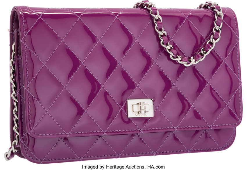 daac906eb3ef Chanel Purple Quilted Patent Leather Reissue Wallet on Chain