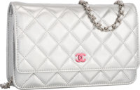 Chanel Metallic Silver Quilted Lambskin Leather Wallet on Chain Bag with Silver Hardware Excellent Condition