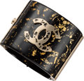 "Luxury Accessories:Accessories, Chanel Black & Gold Leaf Enamel CC Bracelet. ExcellentCondition. 2"" Width x 7"" Length. ..."