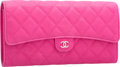 """Luxury Accessories:Bags, Chanel Pink Quilted Caviar Leather Matelasse Clutch Bag with SilverHardware. Pristine Condition. 8.5"""" Width x 4.5"""" He..."""