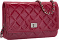 Luxury Accessories:Bags, Chanel Burgundy Red Distressed Quilted Patent Leather ReissueWallet on Chain Bag with Gunmetal Hardware. Excellent toPri...