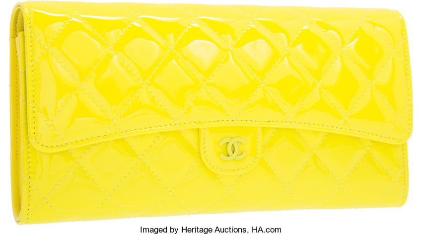 c9a0d92fb7 Chanel Yellow Quilted Patent Leather Matelasse Clutch Bag