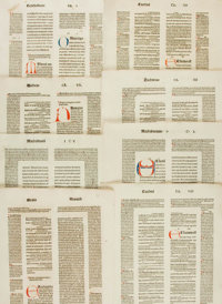 [Religion & Theology]. Thirty-nine Fifteenth-Century Bible Leaves, Unidentified. Circa 1495