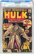 Silver Age (1956-1969):Superhero, The Incredible Hulk #1 (Marvel, 1962) CGC FR/GD 1.5 Off-white towhite pages....