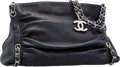 "Luxury Accessories:Bags, Chanel Navy Blue Ruched Lambskin Leather Shoulder Bag. ExcellentCondition. 13"" Width x 9"" Height x 7"" Depth. ..."