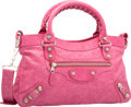 """Luxury Accessories:Bags, Balenciaga Peony Pink Lambskin Leather Silver First Bag.Excellent Condition. 13"""" Width x 7.5"""" Height x 2.5""""Depth. ..."""