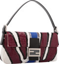 Luxury Accessories:Bags, Fendi Limited Edition Baguette Mania Collection Bordeaux Red &Multicolor Ricami Embroidered Sequin Baguette Bag .Pristin...