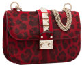 "Luxury Accessories:Bags, Valentino Red Leopard Ponyhair Rockstud Lock Flap Bag. ExcellentCondition. 8"" Width x 5.5"" Height x 2"" Depth. ..."