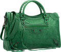 "Luxury Accessories:Bags, Balenciaga Vert Poker Green Lambskin Leather Classic City Bag.Excellent Condition. 15"" Width x 9.5"" Height x 5.5""Dep..."