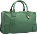 """Luxury Accessories:Bags, Loewe Green Leather Amazona Bag. Excellent Condition. 14""""Width x 8.5"""" Height x 5.5"""" Depth. ..."""