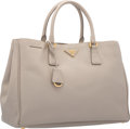 "Luxury Accessories:Bags, Prada Pomice Gray Saffiano Leather Lux Tote Bag. ExcellentCondition. 15"" Width x 10"" Height x 6.5"" Depth. ..."