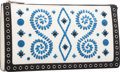 Luxury Accessories:Bags, Prada Bianco White, Nero Black & Ocean Blue EmbroideredSaffiano Leather Clutch Bag. Excellent to PristineCondition. ...