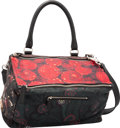 "Luxury Accessories:Bags, Givenchy Black, Red & Green Floral Lambskin Leather MediumPandora Bag. Excellent to Pristine Condition. 13"" Width x7..."