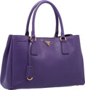 "Luxury Accessories:Bags, Prada Viola Purple Saffiano Leather Lux Tote Bag. ExcellentCondition. 13"" Width x 8"" Height x 5.5"" Depth. ..."