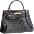 "Luxury Accessories:Bags, Hermes 28cm Shiny Black Alligator Sellier Kelly Bag with GoldHardware. Z Circle, 1996. Excellent Condition. 11""W..."