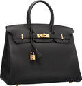 """Luxury Accessories:Bags, Hermes 35cm Black Togo Leather Birkin Bag with Gold Hardware. T,2015. Pristine Condition. 14"""" Width x 10"""" Height..."""