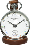 Luxury Accessories:Home, Hermes Stainless Steel & Natural Barenia Leather Boule DeskClock. Very Good to Excellent Condition. 65mm Case....