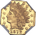 California Fractional Gold , 1872/1 25C Indian Octagonal 25 Cents, BG-790, R.3, MS67 ProoflikeNGC....