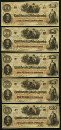Confederate Notes:1862 Issues, T41 $100 1862 (5) PF-11 Cr. 319A.. ... (Total: 5 notes)