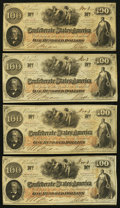 Confederate Notes:1862 Issues, T41 $100 1862 (4) PF-16 (2); PF-22 (2) Cr. 320 (2); Cr. 320A (2)..... (Total: 4 notes)