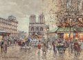 Paintings, Antoine Blanchard (French, 1910-1988). Place Saint Michel, Notre-Dame, circa 1980s. Oil on canvas. 13 x 18 inches (33.0 ...