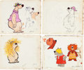 Animation Art:Concept Art, Jerry Eisenberg Help! It's the Hair Bear Bunch! Concept ArtGroup of 4 (Hanna-Barbera, 1971).... (Total: 4 Original Art)