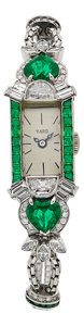 Estate Jewelry:Watches, Raymond Yard Lady's Diamond, Emerald, Platinum Watch. ...