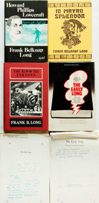 Frank Belknap Long. INSCRIBED. Group of Material Inscribed by Long, Including Four Books and Two Galley Proofs. Vario