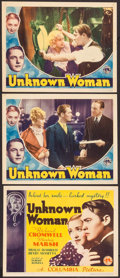 "Movie Posters:Crime, Unknown Woman (Columbia, 1935). Title Lobby Card and Lobby Cards (2) (11"" X 14""). Crime.. ... (Total: 3 Items)"