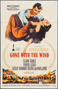 """Gone with the Wind (MGM, R-1961). One Sheet (27"""" X 41""""). Academy Award Winners"""