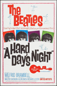 """A Hard Day's Night (United Artists, 1964). One Sheet (27"""" X 41""""). Rock and Roll"""