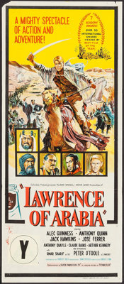"Lawrence of Arabia (Columbia, 1963). Australian Daybill (13"" X 30""). Academy Award Style"