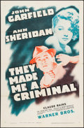 "Movie Posters:Crime, They Made Me a Criminal (Warner Brothers, R-1940s). One Sheet (27""X 41""). Crime.. ..."