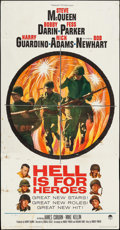 "Movie Posters:War, Hell is for Heroes (Paramount, 1962). Three Sheet (41"" X 79"").War.. ..."