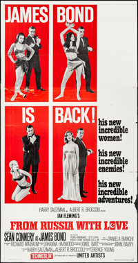 "From Russia with Love (United Artists, 1964). Three Sheet (41"" X 79"") Style B. James Bond"
