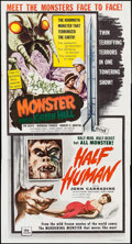 "Movie Posters:Horror, Monster from Green Hell/Half Human Combo (DCA, 1957). Three Sheet (41"" X 77""). Horror.. ..."