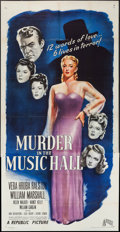 "Movie Posters:Mystery, Murder in the Music Hall (Republic, 1946). Three Sheet (41"" X 80""). Mystery.. ..."