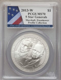 Modern Issues, 2013-W $1 Five-Star Generals Silver Dollar, Marshall and Eisenhower, Profile Collection MS70 PCGS. PCGS Population (91). NG...