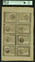 Colonial Notes:Continental Congress Issues, Continental Currency September 26, 1778 Uncut Single Pane Sheet of $60-$50-$40-$30/$20-$8-$7-$5 Blue Counterfeit Detector Note...