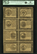 Colonial Notes:Continental Congress Issues, Continental Currency April 11, 1778 Yorktown Issue Uncut SinglePane Sheet of $40-$30-$20-$4/$8-$7-$6-$5 Blue Counterfeit Dete...