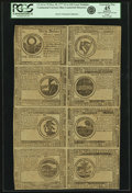 Colonial Notes:Continental Congress Issues, Continental Currency May 20, 1777 Uncut Single Pane Sheet of$30-$2-$3-$4/$8-$7-$6-$5 Blue Counterfeit Detector Notes Fr.CC-7...